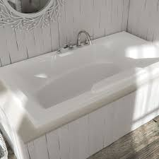 rectangle bath with curving armrests center drain faucet deck alcove seria