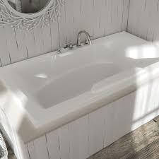 rectangle bath with curving armrests center drain faucet deck