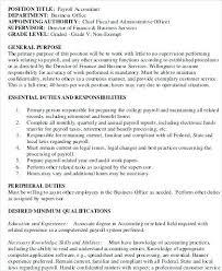 Payroll Accounting Job Description 13 Payroll Administrator Job Description Salary Format