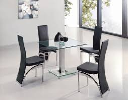contemporary square glass dining room table with black leather dining chairs