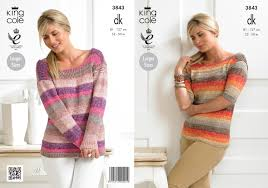 Jumper Pattern Impressive King Cole Womens Double Knitting Pattern Ladies Long Short Sleeve