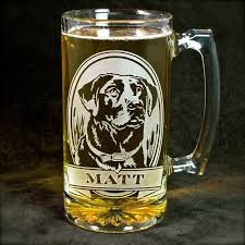 1 personalized labrador retriever beer mug etched glass beer stein for dog