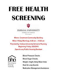bloomington housing authority health screenings at the bha  nursing students health screening