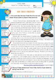 my best friend reading test english worksheet my best friend reading test