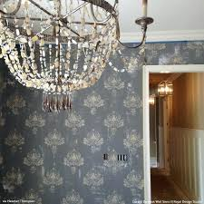 chandelier wall stencil damask wall stencil pattern to repeat allover or as a wall motif damask chandelier wall stencil