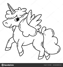 Vettore Unicorno Da Colorare Con Le Ali Unicorno Con Le Ali