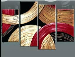red wave metal wall art decor remarkable decoration designs circles gold beige and abstract