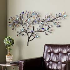 Metal Wall Decorations For Living Room Multicolored Glass Metal Wall Sculpture Tree Art Unique Apartment