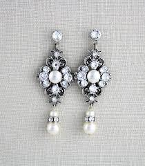 pearl bridal earrings crystal wedding earrings bridal jewelry wedding jewelry vintage style earrings chandelier earrings ashlyn