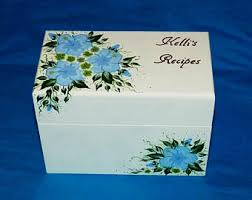 Decorative Recipe Box Personalized Recipe Box Custom Wood Recipe Card Holder 65