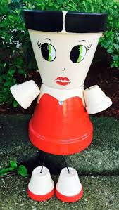 Betty Boop Planter, Clay Pot People Planter, Hand Painted Flower Pot,  Flower Pot