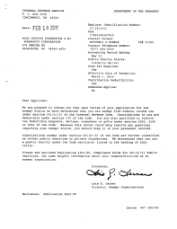 In August 2007 501c3 Letter To Ths Irs Determination How Form A