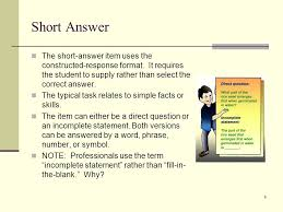 constructed response items examples spelling test short answer  short answer the short answer item uses the constructed response format