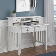 image of elegant white desk with hutch