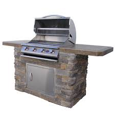 cultured stone bbq island with 4 burner grill in stainless