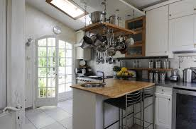 ... Traditional French Country Small Kitchen Design With Mahogany Kitchen  Island In White Finish Which Has Stainless