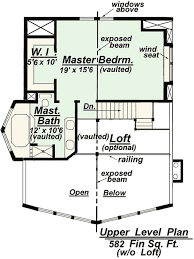 Chalet Model C Upper Floor Plan from Creative House PlansAreas colored in green represent living space areas of this chalet style home plan design  Click gt  gt  to see the lower level floor plan