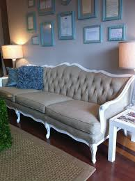 white vintage couch. This Gorgeous Vintage Sofa, Reupholstered In Linen And Laqcuered White! White Couch I