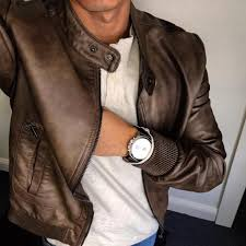 forever 21 men brown leather jacket fossil grant watch american eagle long sleeve henley