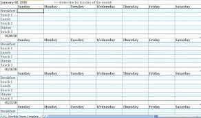 Free Monthly Menu Calendar Template Meal Planning Diet Plan