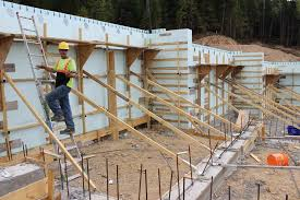 to build and pour all the walls in this five plex we ve spent about twenty man days with plywood it would have taken 35 to 40 man days