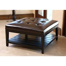 ... Coffee Table, ABBYSON LIVING Manchester Dark Brown Leather Square Coffee  Table Ottoman Round Ottoman: ...