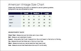 American Waist Size Chart 2019