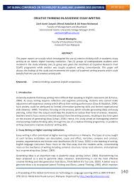 creative thinking in academic essay writing pdf available