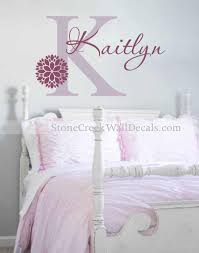 girls name decal flower wall decal girls bedroom decal vinyl wall decal name initial zinnia dahlia flower decal girl nursery wall decal n082