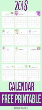 20 Free Printable Calendars For 2018 | Pinterest | Previous Year ...
