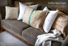 no sew burlap coffee bean sack sofa pillows instantly via