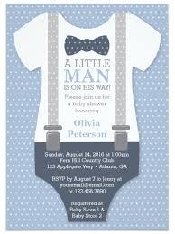 Little Man Baby Shower Invitation Navy Blue Gray Invitation In