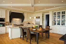 Kitchen:Beautiful Open Plan Kitchen Design With White Kitchen Cabinet And  Dark Brown Leather Sofa