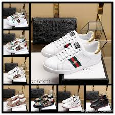 whole sneaker ace leather sneaker 100 genuine leather trainers men women classic casual shoes python tiger bee flower embroidered cock boat shoes shoes
