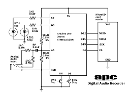 arduino projects digital audio recorder apc the circuit diagram for our digital audio recorder