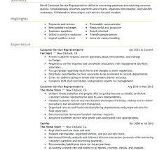 Customer Service Job Description For Resume X X Retail Customer