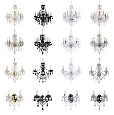 marie therese 3 5 9 ceiling wall light chandeliers clear black white gold
