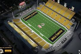 The Hamilton Tiger Cats Of The Canadian Football Field Are