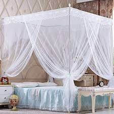 Nattey 4 Corners Princess Bedding Curtain Canopy Mosquito Netting Canopies Bed Frame Draperies(Full, White)