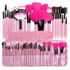 zodaca pink pro 24pcs pouch bag case superior soft cosmetic makeup brush set kit