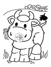 Little Cow Eating Grass Coloring Page