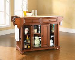 Crosley Furniture Kitchen Cart Crosley Furniture Alexandria Natural Wood Top Kitchen Island In