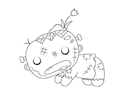 Free zombies coloring page to download. Printable Cute Crawling Zombie Coloring Page