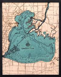 Lake St Catherine Depth Chart Lake St Clair Wood Carved Topographic Depth Chart Map
