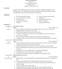 Nanny Sample Resume Nanny Sample Resume Nanny Housekeeper Sample ...