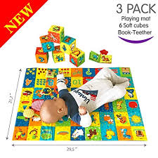 macik playingmat 6 soft blocks for baby toy set book teether rattle