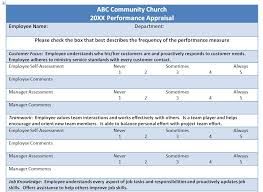 Employee Appraisal Form Example Church Staff Evaluation Form Smart Church Management