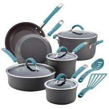 rachael ray pan set.  Ray Rachael Ray Cucina 12Piece Gray And Blue Cookware Set With Lids On Pan R