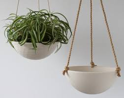 Large Hanging Planter, Ceramic Porcelain Basket with Jute or Cotton Cord,  Hand Carved Geometric