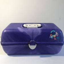 vtg caboodles makeup trunk carrying case make up marbled purple with mirror